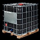 IBC-Container 1000l neu auf Holzpalette UN-Gefahrgutzulassung schwarzer Innenbehälter
