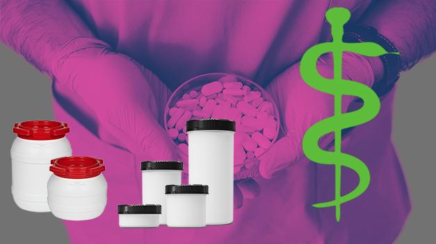 Kunststoffdosen werden für die Abfüllung und den Transport von Medikamenten in der Pharma-Branche verwendet