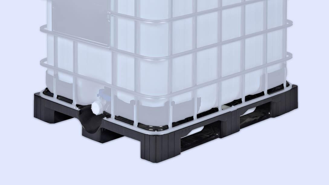 Unsere Kunststoffpaletten sind für IBC-Container mit 1000l geeignet