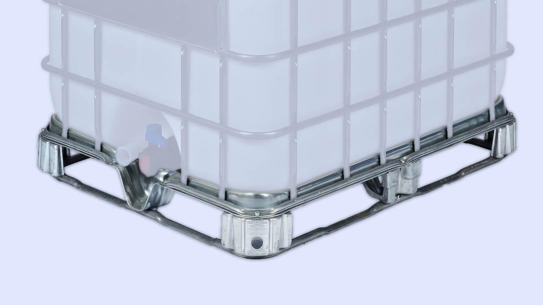 Unsere Stahlpaletten sind für IBC-Container mit 1000l geeignet