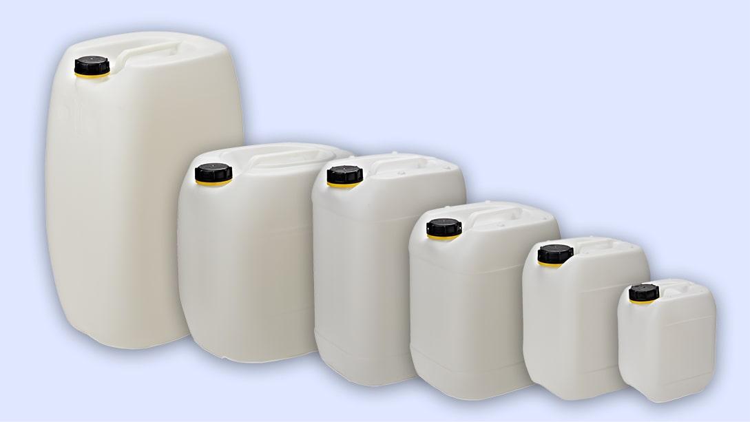 Natur Kunststoffkanister sind vielseitig einsetzbar, so z.B. zur Aufnahme von Fallgütern