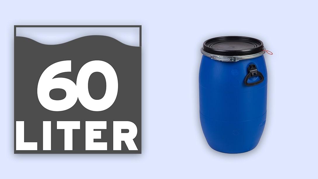 Ab einem Fassungsvermögen von 60l verfügen Kunsststofffässer über seitliche Fallgriffe